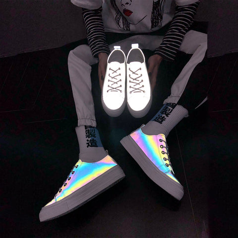 Korean Pop Reflective Rainbow Silver Sneakers Shoes - juwas.com online store