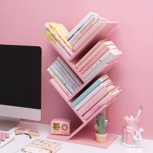 Pink Wooden Table Bookshelf
