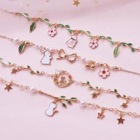 Kawaii Cat Bunny Sakura Flower Bracelets