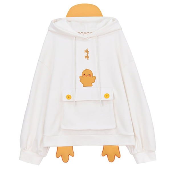 Sweet Korean Duck Loose Hoodie Matching Best Friends