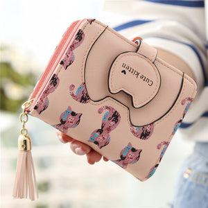 Cute Kitten Printed Credit Card Holder Wallet Purse - juwas.com online store