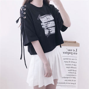 Gothic Letter Ribbon Loose Tee Shirt - juwas.com online store