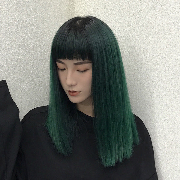 Korean Mixed Color straight  Air Bangs Wig - juwas.com online store