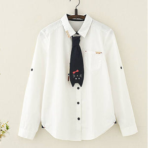 Kawaii Cat Tie Wooden Buckle Long Sleeve Shirt - juwas.com online store