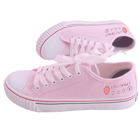 Kawaii Pink Harajuku Strawberry Sneakers - juwas.com online store