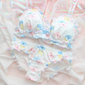 Cute Floral and Clouds Print Padded Bra Panty Set