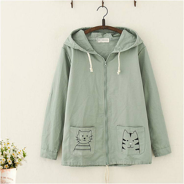 Kawaii Cat Embroidery Hooded Coat - juwas.com online store