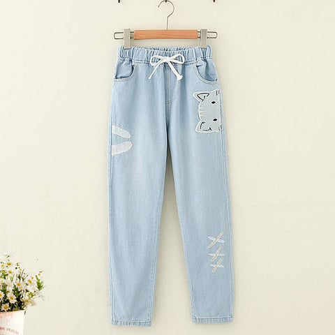Cat Embroidery Jeans - juwas.com online store
