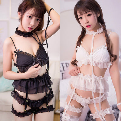 Black/White/Pink Sweet Lace Lingeries Set - juwas.com online store