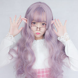 Harajuku Lolita Long Purple Wavy Air Bangs Cosplay Wig - juwas.com online store