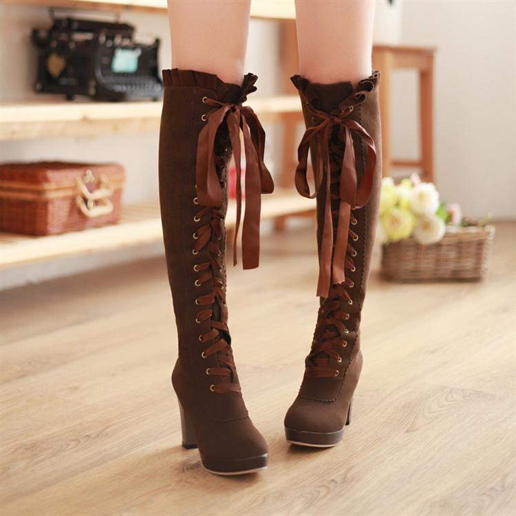 Vintage Lace-up Knee High Boots