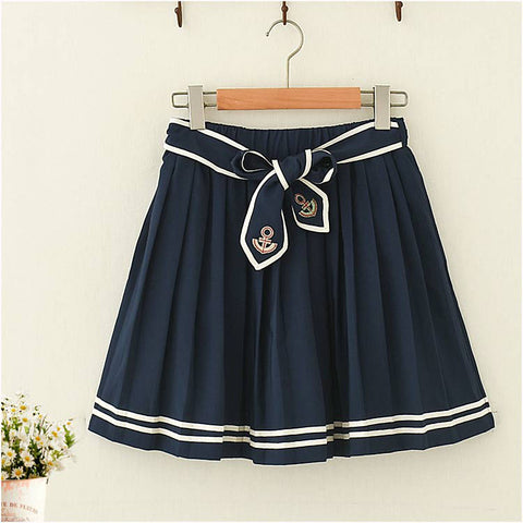 Anchor  Embroidery Navy Style Skirt - juwas.com online store