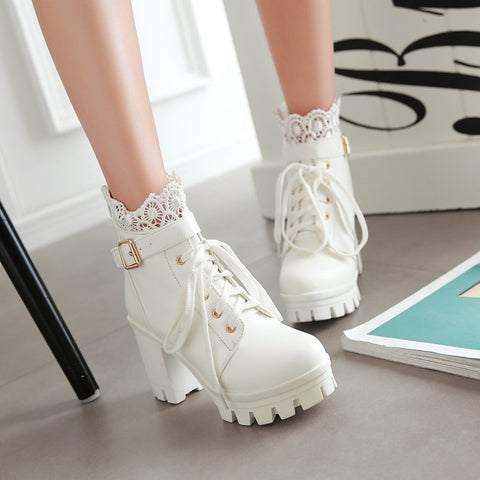 White Black Lace Up Ankle Boots