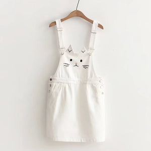 Japanese Kawaii Cat Embroidery Denim Overall - juwas.com online store