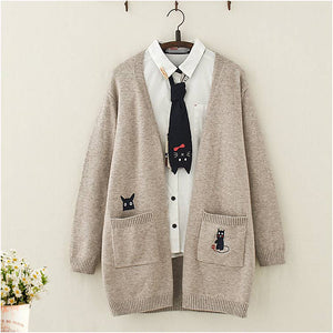 Kawaii Cat And Mouse Embroidery Loose Cardigan Sweater - juwas.com online store