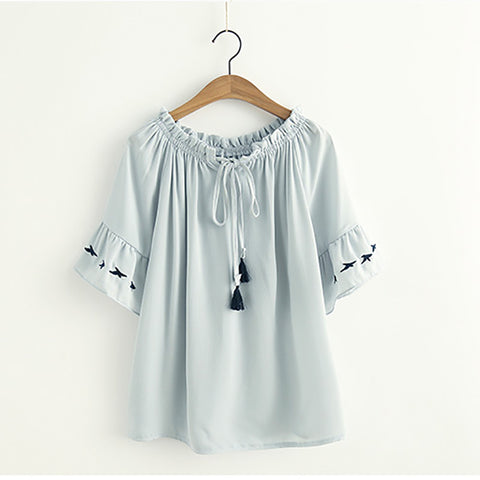 Japanese Style Embroidery Chiffon Loose T-shirt - juwas.com online store