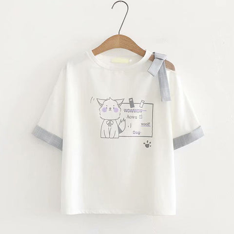 Japanese Kitty BOW-KNOT T-SHIRT - juwas.com online store