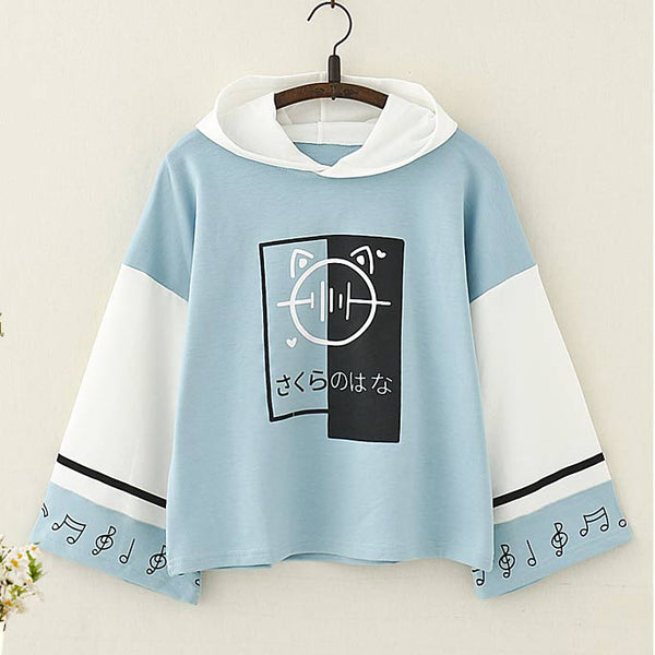 Japanese Musical Note Printed Color Block Hoodie - juwas.com online store