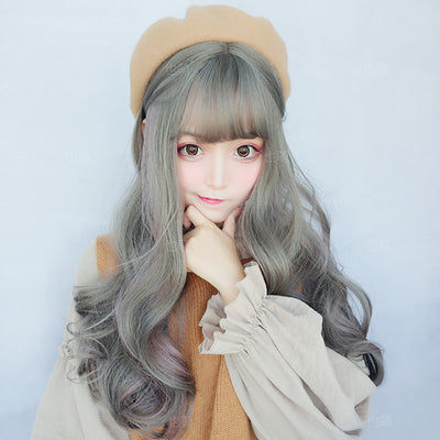 Long Grey Green with Purple Highlights Wavy Wig - juwas.com online store