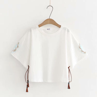 Korean O-neck Fishes Loose T-shirt - juwas.com online store