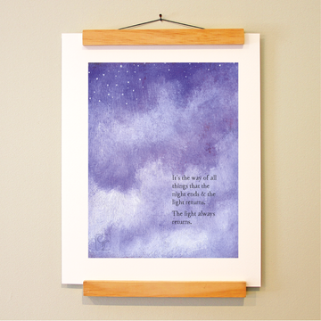bird & brush: light (remix) print