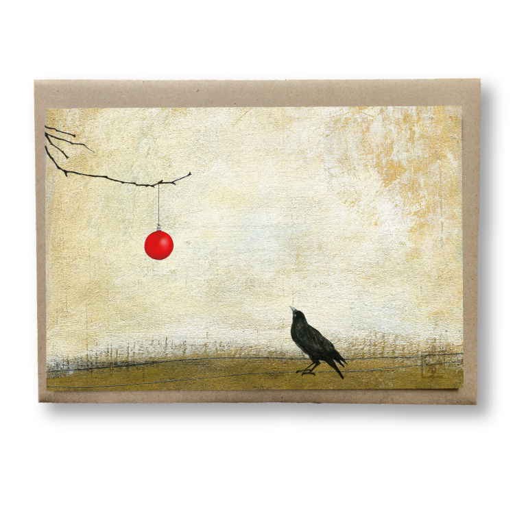 holiday bird & brush: shiny things notecard