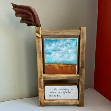 story keeper frame: bird & brush