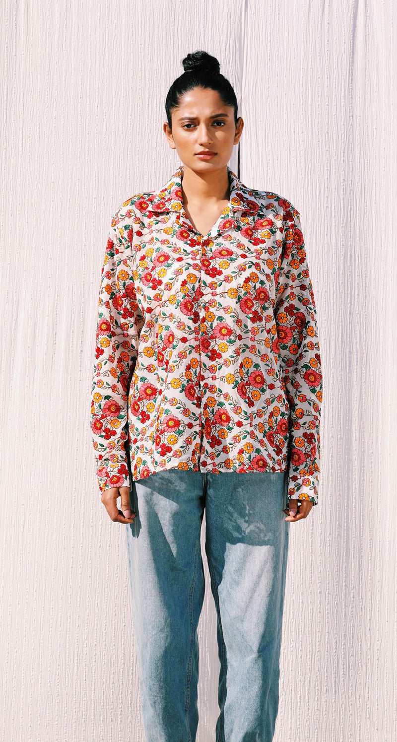 VINTAGE FLORAL EMBROIDERED FULL SLEEVE SHIRT