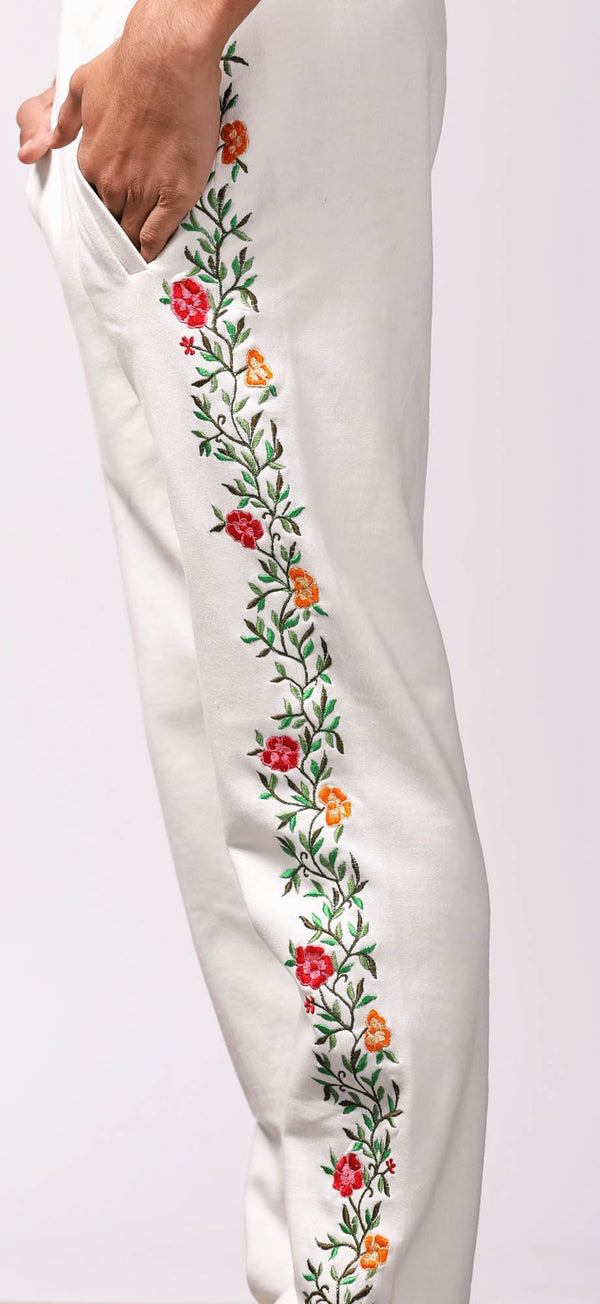 Floral embroidered lounge pants