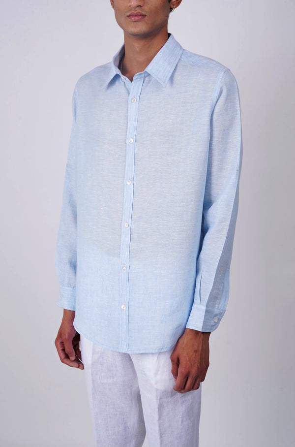 Baby Blue full sleeve linen shirt