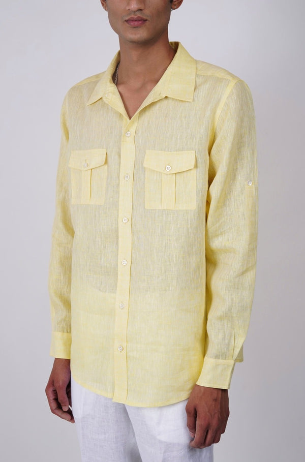 Lemon yellow Linen shirt