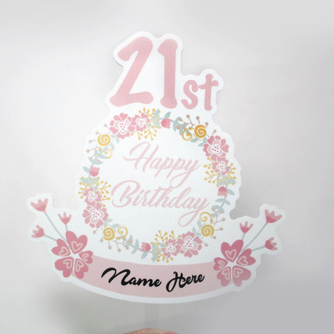 Beautiful 21st Cake Topper