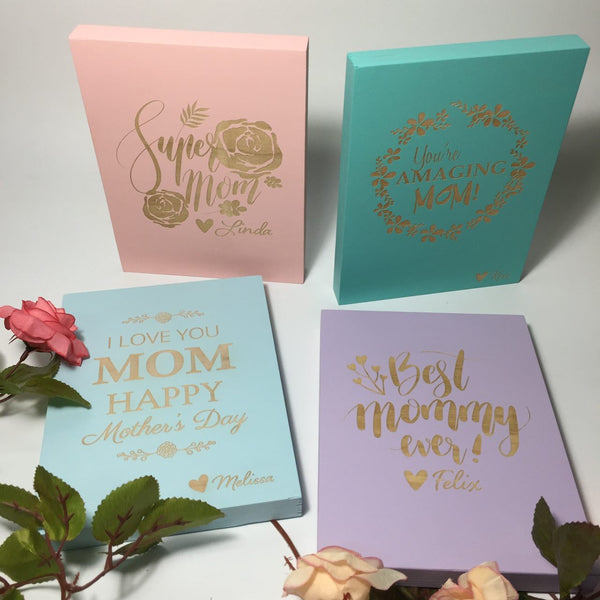 Mother's Day Pastel Wood Blocks