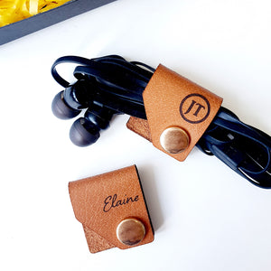 Personalized Genuine Leather Cord Holder