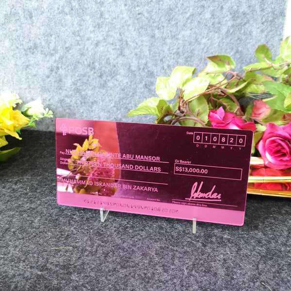 Mock up Cheque (Rose Pink Acrylic)