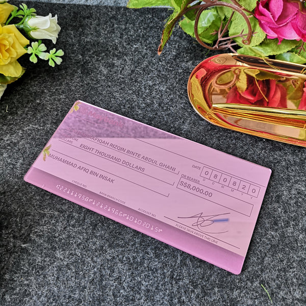 Mock up Cheque (Pink Rose Gold Acrylic)