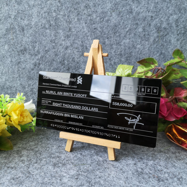 Mock up Cheque ( Black Acrylic)
