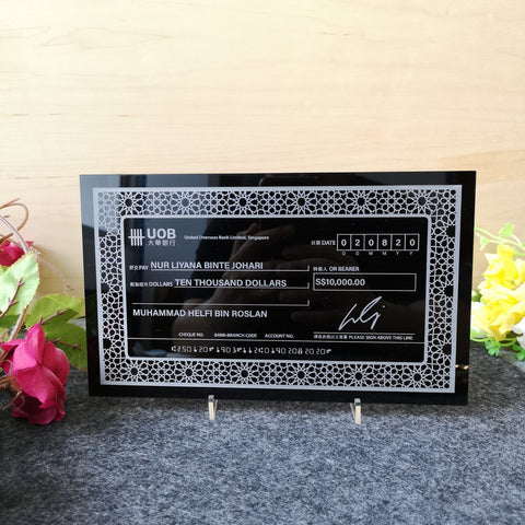 Mock up Cheque with Frame (Black Acrylic)
