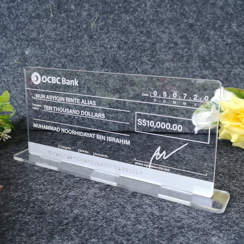 Self Standing Mockup Cheque Wedding (Clear Acrylic)