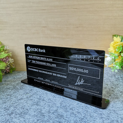 Self Standing Mockup Cheque Wedding (Black Acrylic)