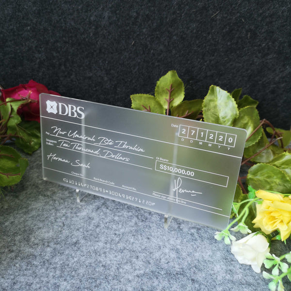 Classic Frosted Mockup Cheque Wedding