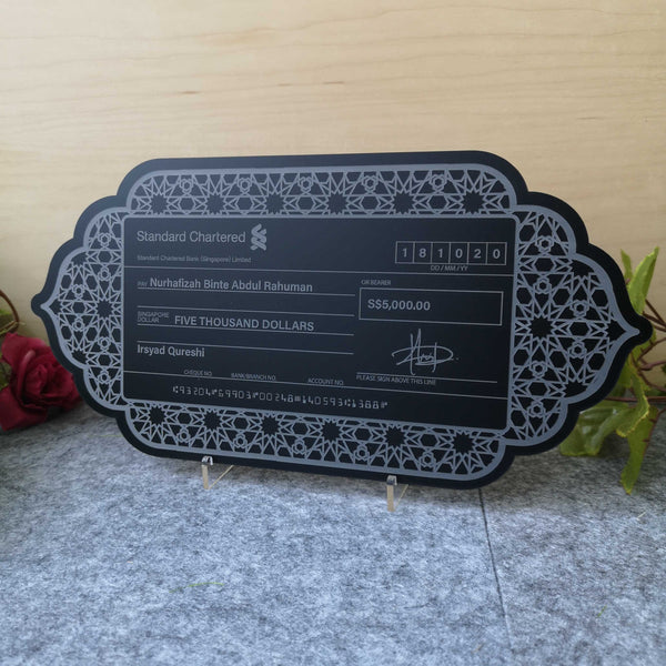 Matte Black Mock up Cheque with Frame 2 (Matte Black Acrylic)