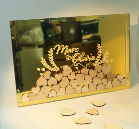 Heartdrop Acrylic Gold Wedding Guestbook
