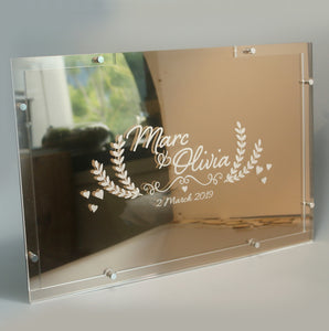 Heartdrop Acrylic Vintage Gold Wedding Guestbook