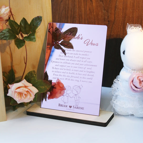 Pink Rose Gold Mirror Vow Boards