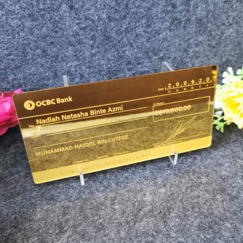 Mock up Cheque (Gold Acrylic)