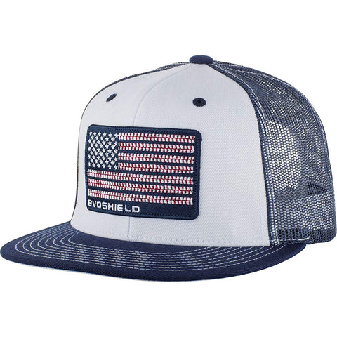 EvoShield EvoShield Flag Patch Snapback Trucker Hat-White/Navy Mesh WTV1037300410OSFM