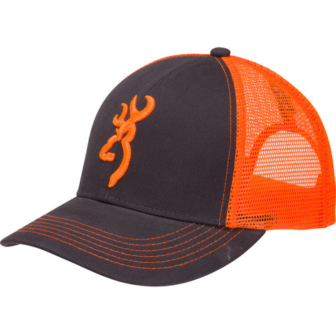 Browning Flashback Neon Cap Charcoal/Neon Orange with Buckmark Logo