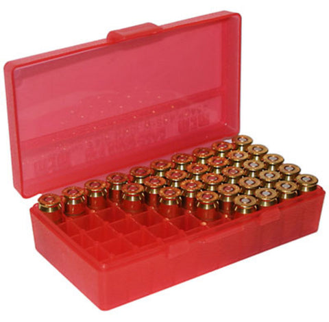 MTM Case-Gard Pistol 50 Round Box Flip Top Clear Red P50-9M-29