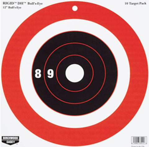 "Birchwood Casey Rigid 12"" Bull's-Eye DH Target 10 Pack"